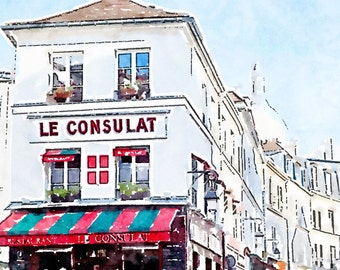 Printable Paris Photo Art, Montmartre Restaurant Le Consulat, Instant Download, French Decor Watercolor Painting