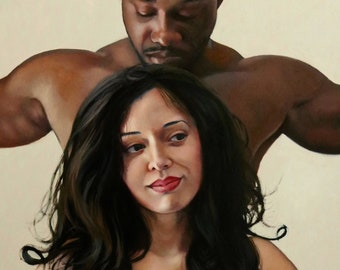 Untamed original oil portrait narrative figurative classical figure painting by Kimberly Dow
