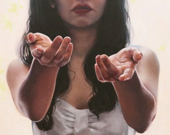 Beseech - original oil classical portrait narrative figurative painting by Kimberly Dow