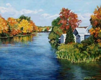 Winnipesauki River 16x20 inch original painting by Kimberly Dow