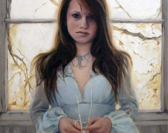 Intuition original oil figure portrait narrative painting by Kimberly Dow
