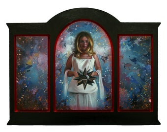Asteria - original oil classical portrait narrative figurative painting by Kimberly Dow