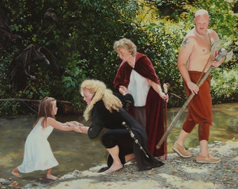 Guardians original oil portrait narrative figurative classical figure painting by Kimberly Dow