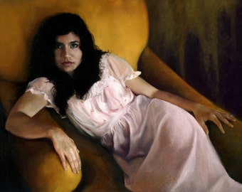 Unrepentant original oil classical portrait narrative figurative painting by Kimberly Dow
