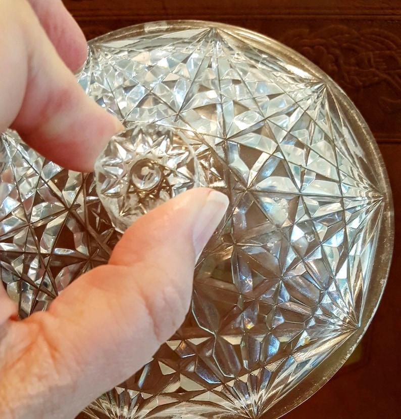 Avon Powder Box Plastic Imitation Cut Milk Glass and Clear