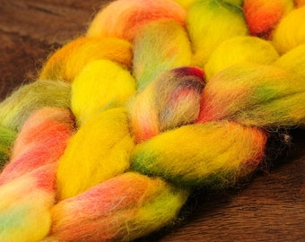 Teeswater Hand Dyed Roving Berry Pie