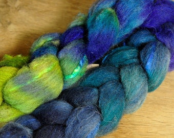 75g Hand Dyed Shetland Wool / Silk Top - 'Paua Shells'