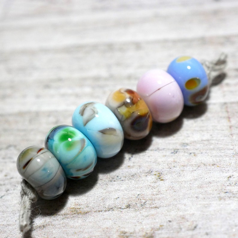 Blue and Grey Fritty Mix Handmade Lampwork Glass Beads Pink