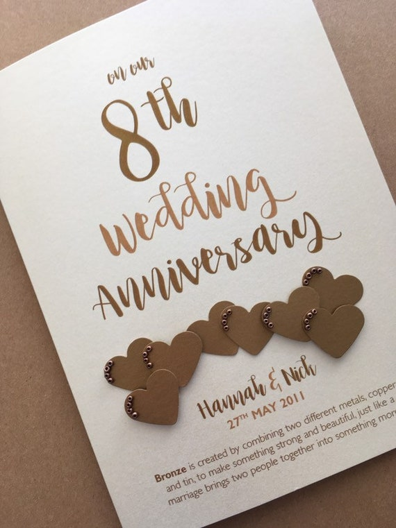 Bronze (10th) 10 years Wedding Anniversary Card - Personalised with names and  date
