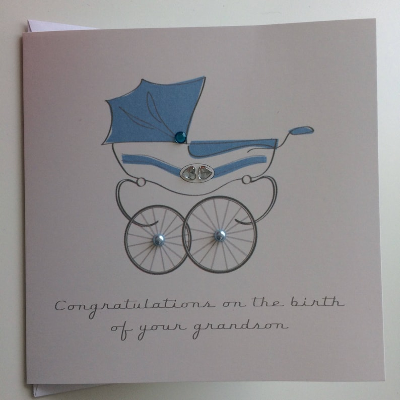 New Parents or Grandparents New Baby Congratulations Pram Illustration Card