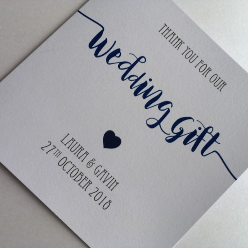 Wedding Gift Thank You Card Personalised