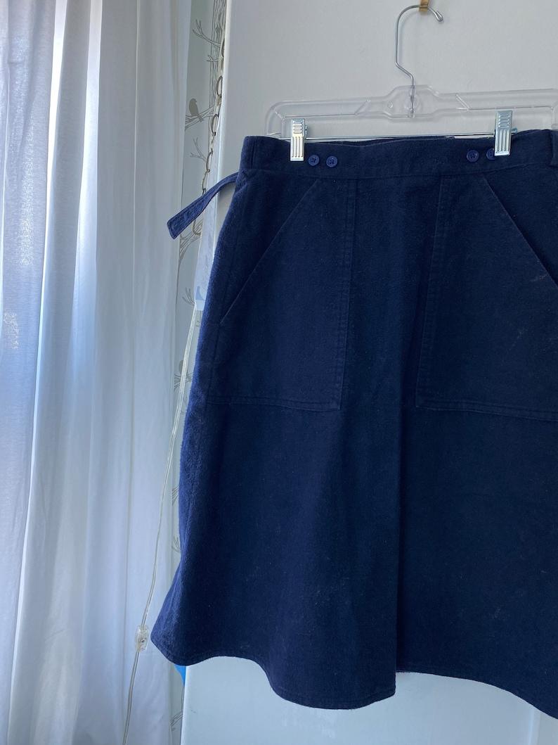flannel cj clare joseph WRAP SKIRT navy cotton size small
