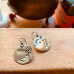 bronze disc mountain bear PINEY WOODS mismatched custom for Lisa earrings oxidized earwired