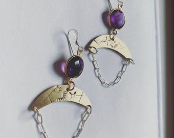 faceted amethyst handstamped brass with sterling earrings