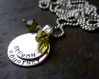 duo double sterling name necklace mom grandma hand stamped custom personalized