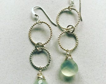 BECKON handforged sterling pale green chalcedony sparklegarden earrings