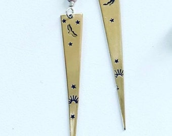 PETROGLYPHS reprise handstamped brass earrings with rhodochrosite, iolite and sterling earwires