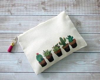 Cactus Zipper Pouch, Cacti Canvas Pouch, Cream Cotton Pencil Bag