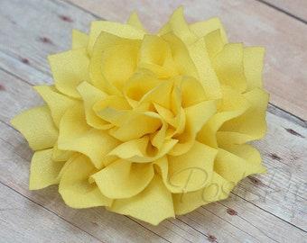 Yellow Rhinestone Flower Hair Clip - Lotus Blossom