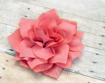 Salmon Pink Rose flower Hair Clip 3.75 inches