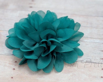 Teal Flower Hair Clip - Petal Flower- Flower Hair Clip - Alligator Clip - With or Without Rhinestone Center