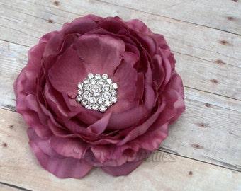 Mauve Rhinestone Flower Hair Clip , Flower Hair Clip Ranunculus, Ruffled Flower Hair Clip