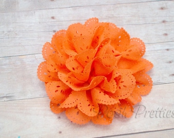 Orange Eyelet Lace Flower Hair Clip