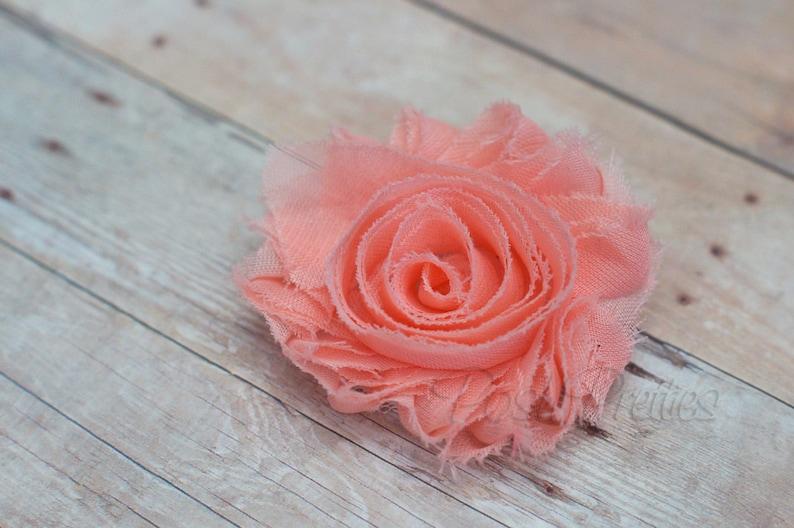 Peach Shabby Flower Hair Clip