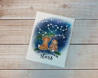 Our Love Is Written In The Stars, Fox and Bunny Galaxy Love, handmade card, anniversary card, sweet love card