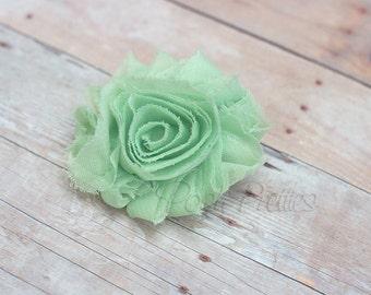 Mint Green Shabby Flower Hair Clip