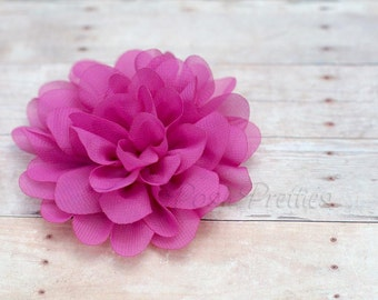 Fuschia Flower Hair Clip - Petal Flower- Flower Hair Clip - Alligator Clip - With or Without Rhinestone Center