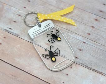 Fireflies Mason Jars Keychain, 3 inch Mason Jar Key Chain, Firefly Lightning Bug Mason Jar
