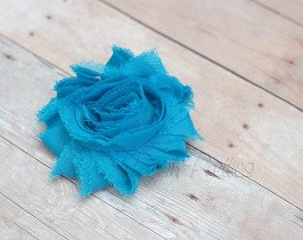 Turquoise Shabby Flower Hair Clip