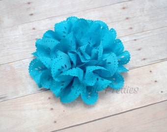 Turquoise Eyelet Lace Flower Hair Clip - Lace Flower - Sky Blue Flower
