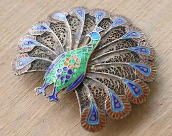Cloisonne Peacock Brooch