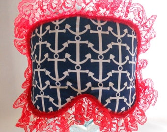Satin Lined Sleep Mask - Retro Rockabilly White Anchors on Navy Blue with Red Lace Trim - Bath and Beauty