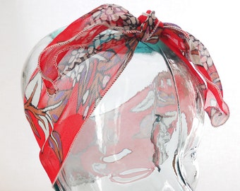 Retro Head Scarf Bandana - Vintage Scarlet Red Georgette Chiffon Floral Flowers Hair Wrap - Rockabilly Hair Accessories