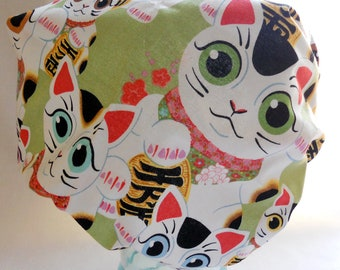 Waterproof Shower Cap - Japanese Kawaii Lucky Cats Kittens Apple Green - Retro Bath and Beauty Cap