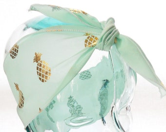 Retro Head Scarf Bandana - Vintage Preppy Mint Green Gold Pineapples Hair Wrap - Rockabilly Hair Accessories