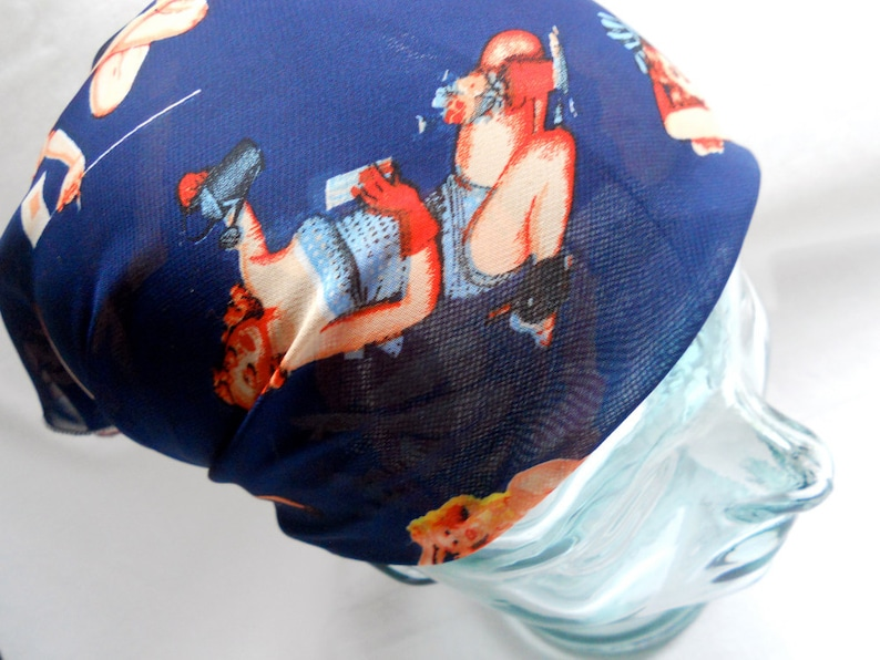 Silk Head Scarf  Retro Navy Blue Pin Up Girls Pinup  image 0