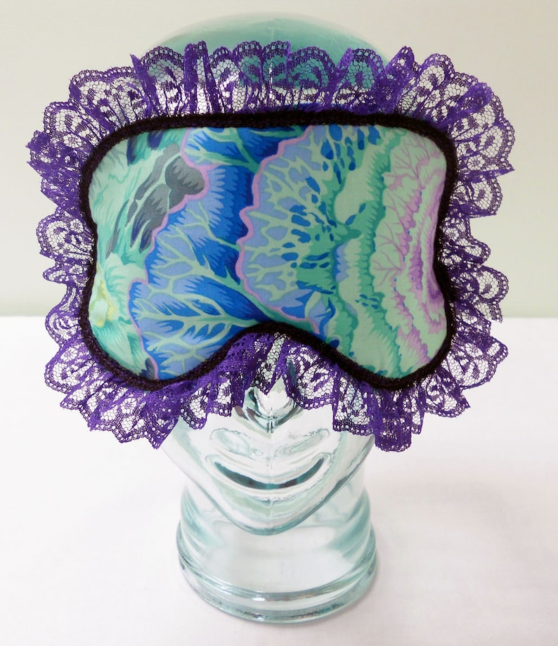 Satin Lined Sleep Mask  Retro Shabby Chic Eyemask Cabbage image 0