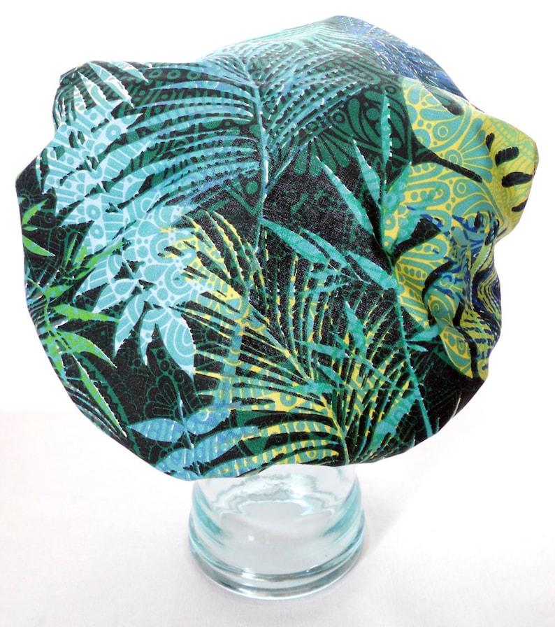 Shower Cap Satin Sleep Bonnet  Vintage Tropical Green Blue image 0