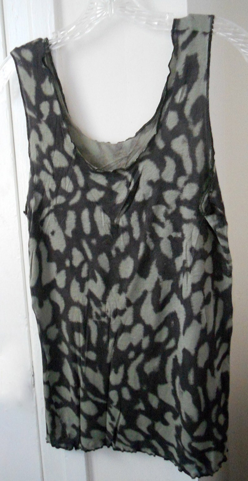 Sweater Tank Top  Handmade Mocha Brown with Olive Green Tunic image 0