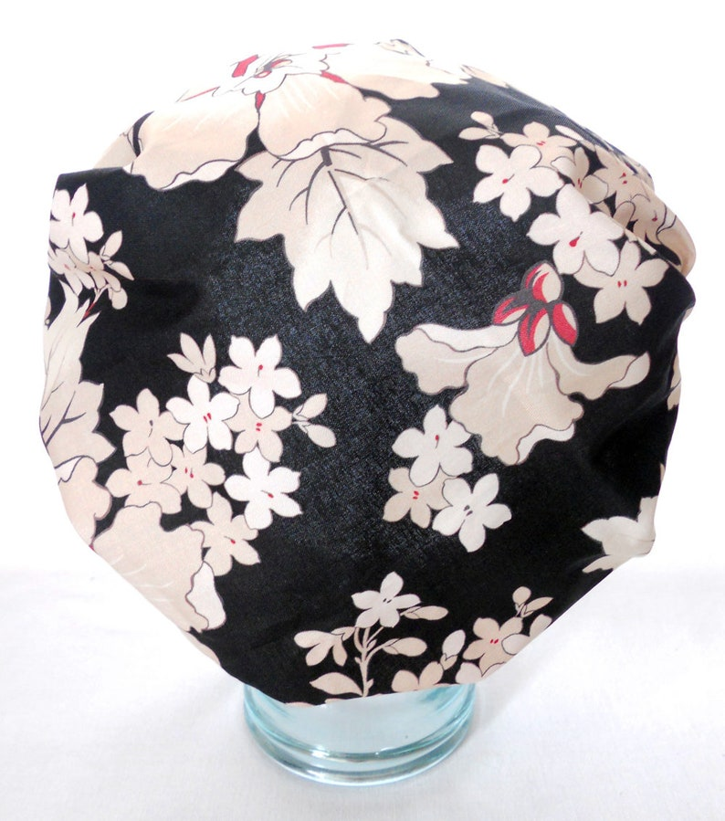 Waterproof Shower Cap  Retro Vintage Black White Red Flowers image 0
