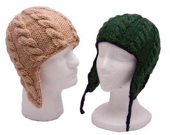 d01c42c80bd Cable Ear Flap Hat SET of 3 patterns (baby to adult) - knitting PDFs