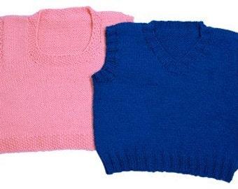 Easy Child's Vests Knitting Pattern - 2 Styles - V-Neck and Scoopneck - PDF