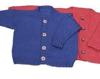 Easy Child's Cardigan - Knitting Pattern PDF