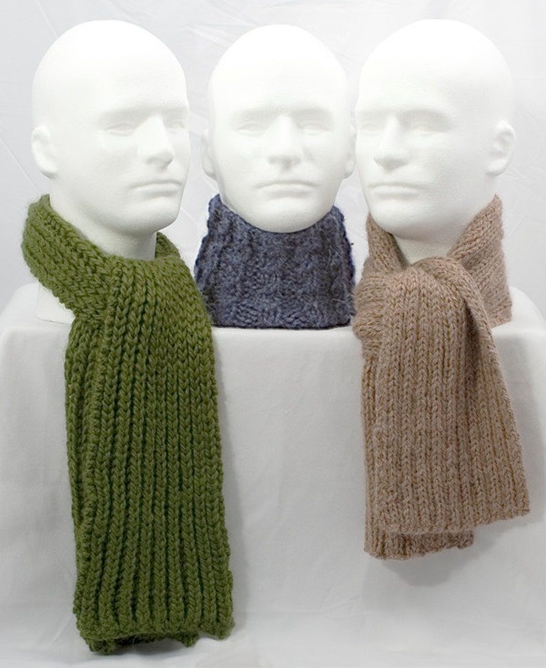 Trio Of Manly Scarves Knitting Pattern 3 Variations Pdf Etsy