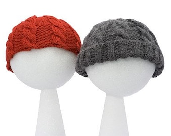 Easy Child's Cable Hat - Two Styles - Basic Knitting Pattern PDF