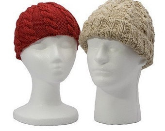 Easy Basic Simple Adult Cabled Hats -  2 Styles - Knitting Pattern  PDF